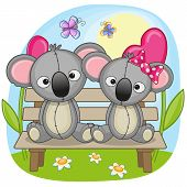 picture of koala  - Valentine card with Lovers Koalas on a bench - JPG