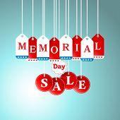 foto of special day  - Memorial Day and Sale tag hanging in store for promotion and shopping concept - JPG