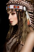 foto of indian beautiful people  - Beautiful ethnic lady with roach on her head - JPG