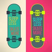 image of skate board  - Vector skateboard background with cool slogan in modern flat design - JPG