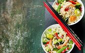 stock photo of chinese menu  - Chinese noodles with vegetables and shrimps - JPG