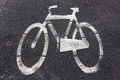 image of bike path  - Symbol of bike path imprinted on the asphalt - JPG