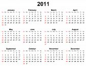 simple editable calendar for year 2011