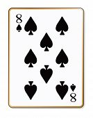 image of spade  - The playing card the Eight of spades over a white background - JPG