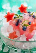 picture of watermelon  - Watermelon and blueberry drink in glasses with slices of watermelon in star shape - JPG