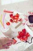 stock photo of whip-hand  - Fresh strawberries - JPG