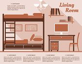 stock photo of bunk-bed  - Living room interior decor infographic template with a bunk bed and desk with computer in shades of brown with editable text - JPG