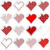pic of twist  - Collection of cute hearts stickers with twisted corner - JPG