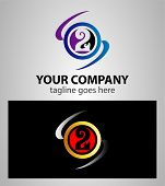 picture of numbers counting  - Abstract icons for number 2 logo vector design illustration - JPG