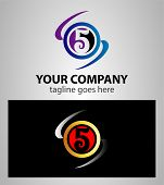 pic of numbers counting  - Abstract icons for number 5 logo design - JPG