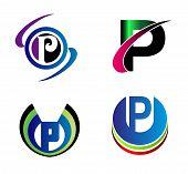 image of letter p  - Set Of Alphabet Symbols And Elements Of Letter P - JPG