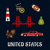 stock photo of golden gate bridge  - Colored flat travel United States icons with Thanksgiving turkey - JPG
