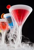 picture of vapor  - Cocktails with ice vapor on bar desk - JPG