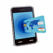 foto of ebusiness  - Internet shopping with smart phone and credit card on a white background - JPG