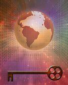 picture of binary code  - Earth Binary Code and Key - JPG