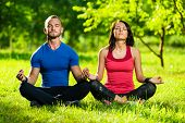 picture of yoga  - Young man and woman doing yoga in the sunny summer park - JPG