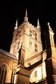 image of london night  - Southwark Cathedral at night which stands at the south end of London Bridge - JPG