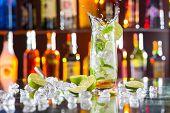 image of mojito  - Mojito cocktail drink with splash - JPG