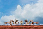 stock photo of red roof  - twin dragon on red roof with clear sky shrine in Thailand - JPG