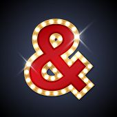 stock photo of ampersand  - Vector illustration of realistic retro signboard Ampersand symbol  - JPG
