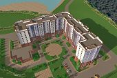 image of orthogonal  - Apartment house structure building social housing neighborhood - JPG