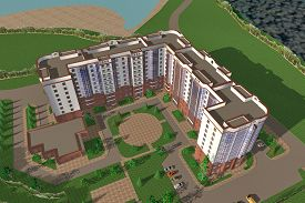 stock photo of social housing  - Apartment house structure building social housing neighborhood - JPG