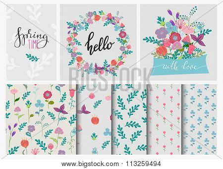 Hand Drawn Flowers Set Wreath And Seamless Pattern