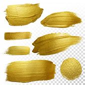 Vector gold paint smear stroke stain set. Abstract gold glittering textured art illustration. Abstra poster