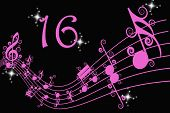 foto of sweet sixteen  - Bright pink music bar with number 16 - JPG