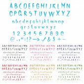 image of paint brush  - Watercolor stroke effect alphabet with big and small letters - JPG