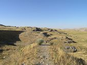 foto of transcontinental  - Overgrown long abandoned rail track grade were trussal used to cross gap of transcontinental railroad in the Greater Salt Lake Utah - JPG