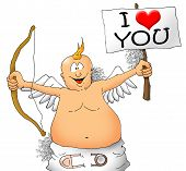 Happy Cupid with bow and a sign
