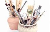 brushes in pots
