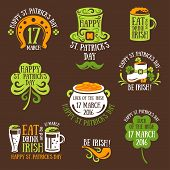 Happy St. Patrick Day Typography Emblems poster