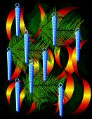Christmas Background With Icy Ornaments And Pine Leaves
