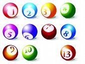 pool balls against white