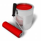 Can with red paint and roller brush