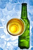 Three fresh beers with ice