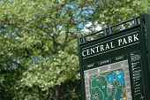 Central Park Sign Map New York In Summer poster