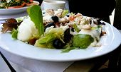 Salad Served At Outdoor Cafe poster