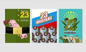 ������, ������: 23 February Day Of Defenders Of Fatherland Set Of Fun Greeting Cards Posters Russian National Ho