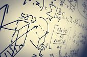 Постер, плакат: Complex math formulas on whiteboard Mathematics and science with economics concept Real equations