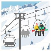Snowboarder sitting in ski gondola and lift elevators. Winter sport resort background. Snowboard peo