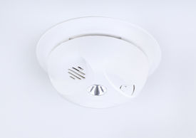 picture of smoke detector  - Fire and smoke detector on a white ceiling - JPG