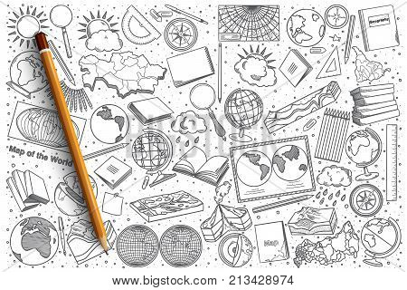 poster of Hand drawn Geography vector doodle set background