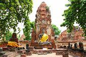 Ruins Of Wat Mahathat Ayutthaya In Thailand