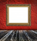 Old  Elegant Golden Frame On Red Plaster Rough Background And Vintage Wooden Planks  Foreground