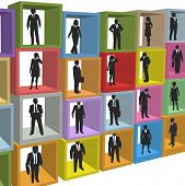 Business people human resources workforce in company office cubicle boxes