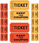 foto of raffle prize  - group of sequentially numbered raffle tickets in red and yellow - JPG