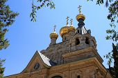 picture of church mary magdalene  - Russian Orthodox church of Mary Magdalene at the Mount of Olives in Jerusalem - JPG